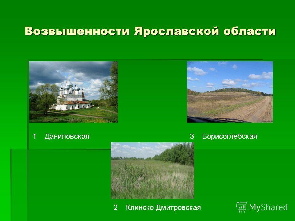 Возвышенности Ярославской области 13 2 ДаниловскаяБорисоглебская Клинско-Дмитровская