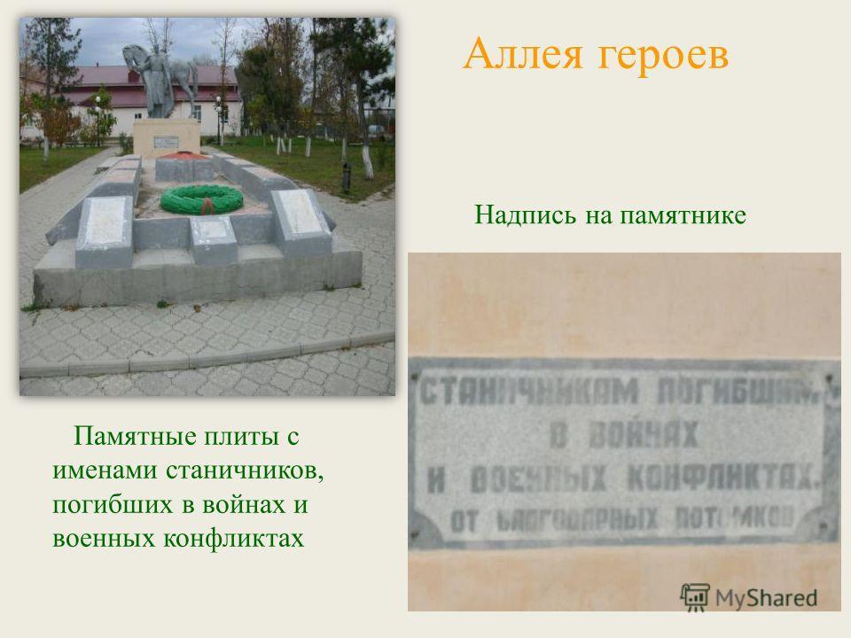 Памятные плиты с именами станичников, погибших в войнах и военных конфликтах Надпись на памятнике Аллея героев