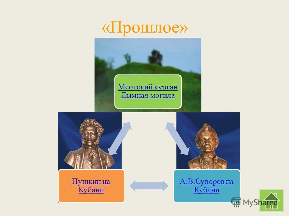 «Прошлое» Меотский курган Дымная могила А.В.Суворов на Кубани Пушкин на Кубани