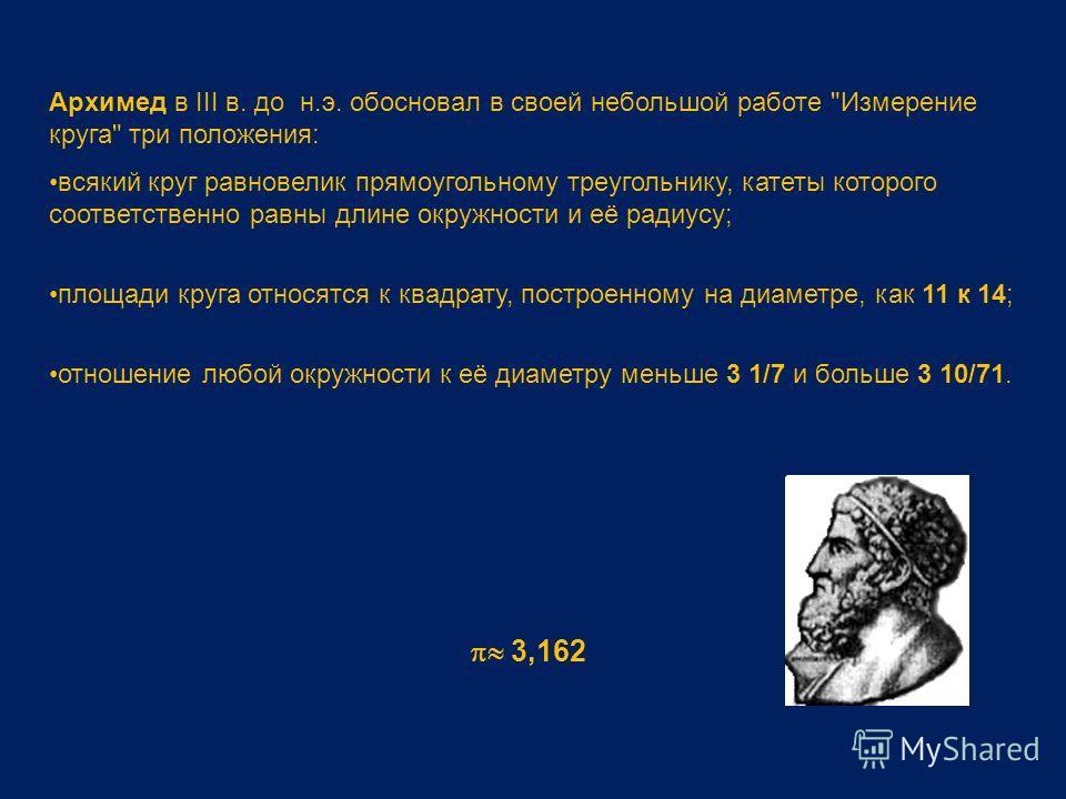 Архимед в III в. до н.э. обосновал в своей небольшой работе