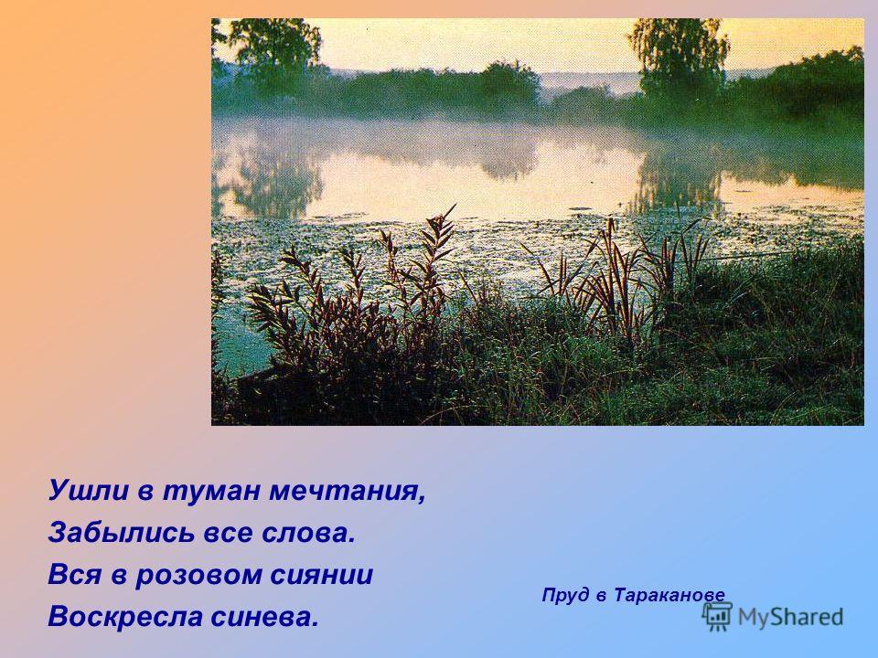 Ушли в туман мечтания, Забылись все слова. Вся в розовом сиянии Воскресла синева. Пруд в Тараканове