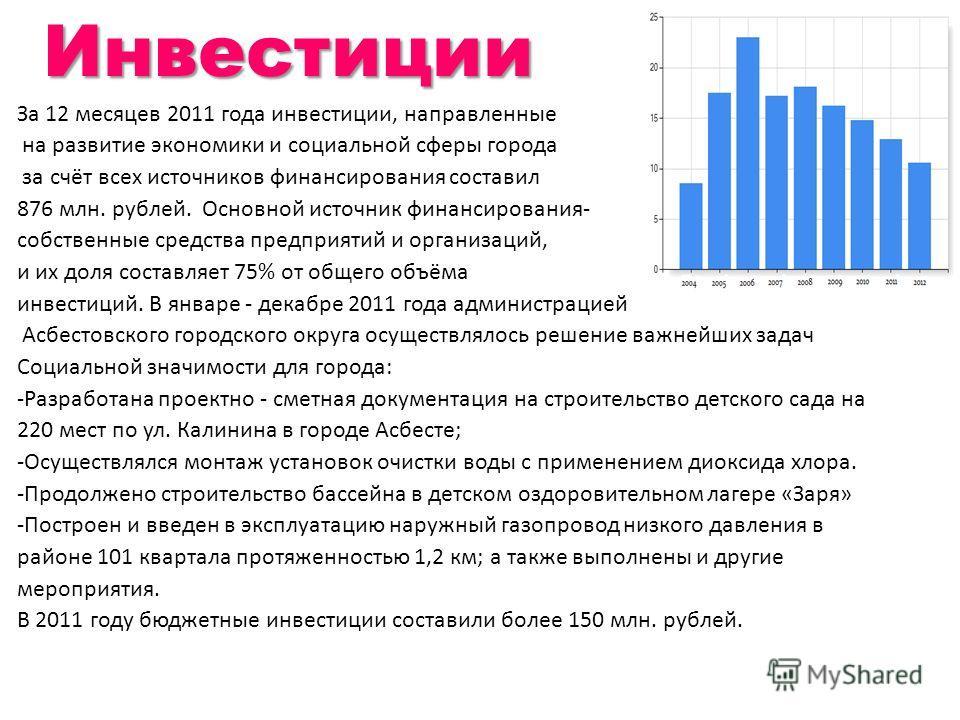 На территории Асбестовского городского округа функционирует 1078 предприятий, в том числе 651 составляют малые, кроме того, зарегистрировано 2506 индивидуальных предпринимателей. Ведущими отраслями промышленности является «добыча полезных ископаемых»