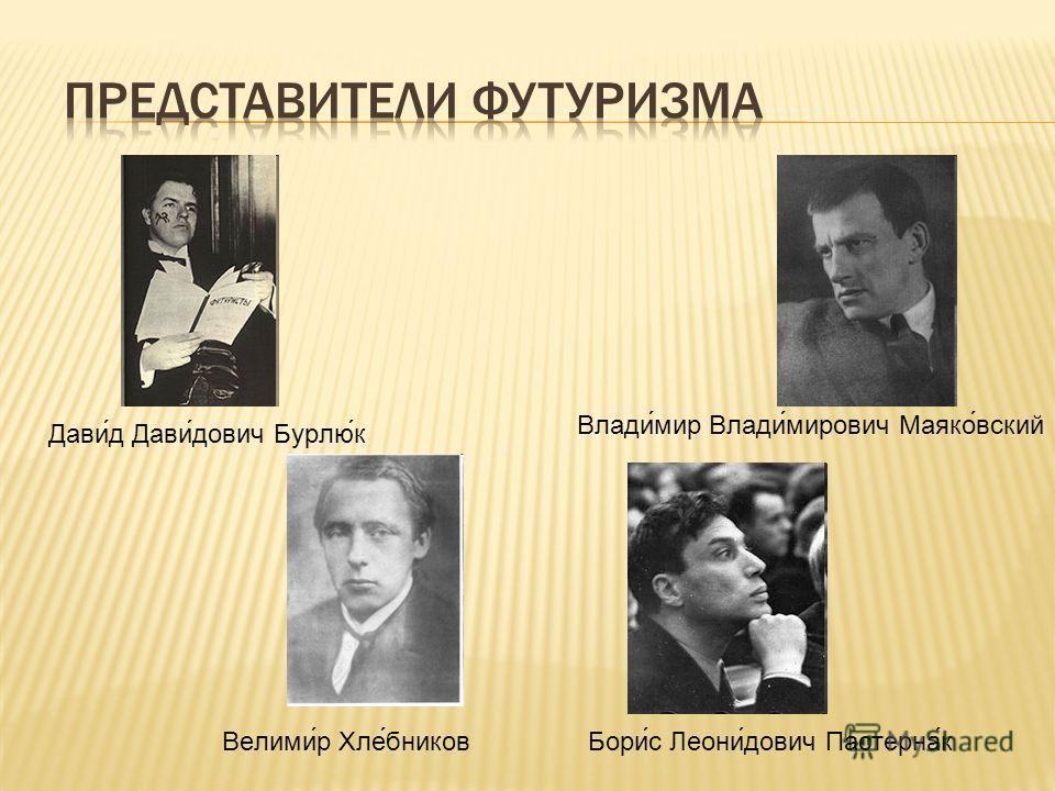 Дави́д Дави́дович Бурлю́к Влади́мир Влади́мирович Маяко́вский Велими́р Хле́бниковБори́с Леони́дович Пастерна́к