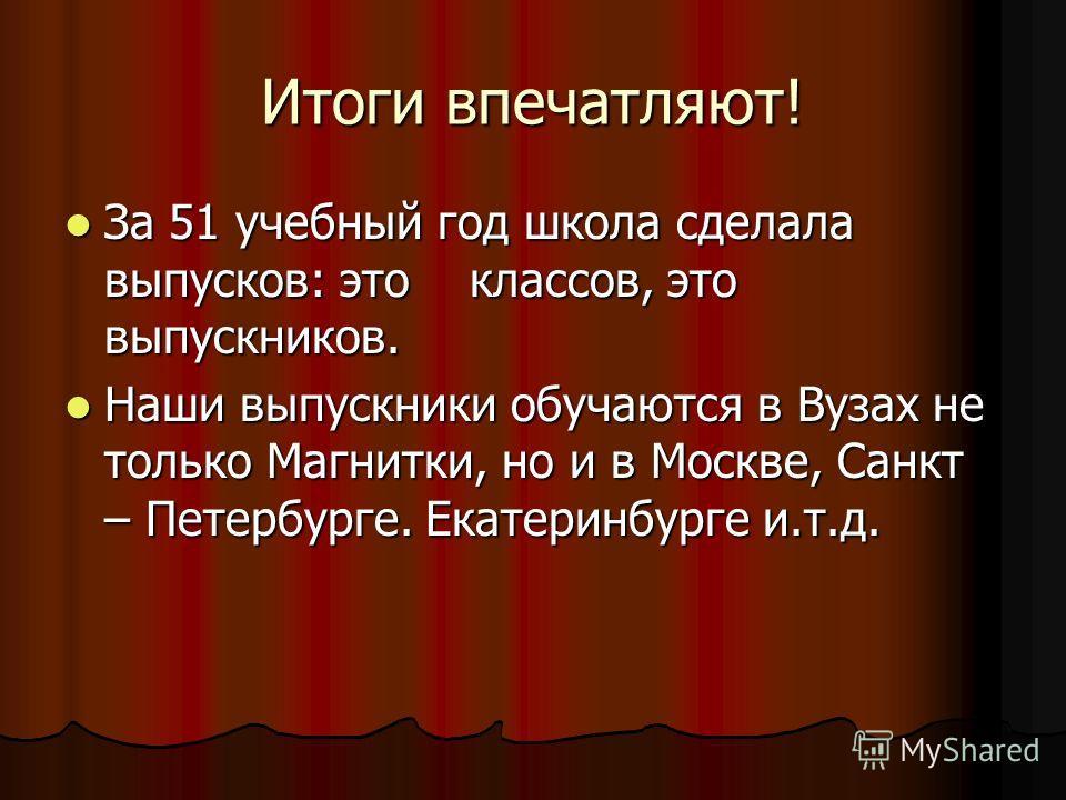 Итоги впечатляют! За 51 учебный год школа сделала выпусков: это классов, это выпускников. За 51 учебный год школа сделала выпусков: это классов, это выпускников. Наши выпускники обучаются в Вузах не только Магнитки, но и в Москве, Санкт – Петербурге.