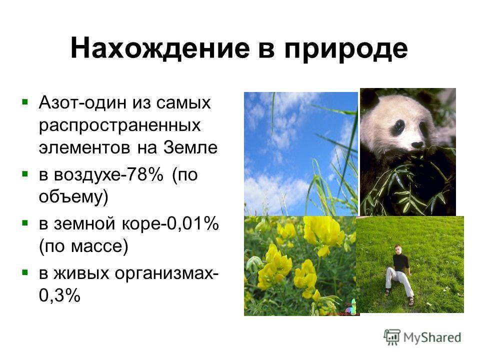 Нахождение в природе Азот-один из самых распространенных элементов на Земле в воздухе-78% (по объему) в земной коре-0,01% (по массе) в живых организмах- 0,3%