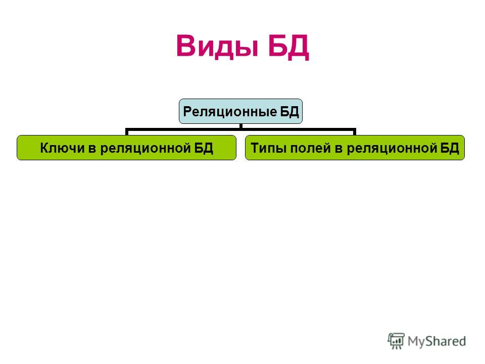 Виды БД Реляционные БД Ключи в реляционной БД Типы полей в реляционной БД