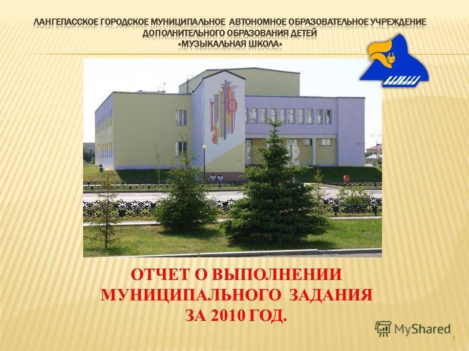 1 ОТЧЕТ О ВЫПОЛНЕНИИ МУНИЦИПАЛЬНОГО ЗАДАНИЯ ЗА 2010 ГОД.