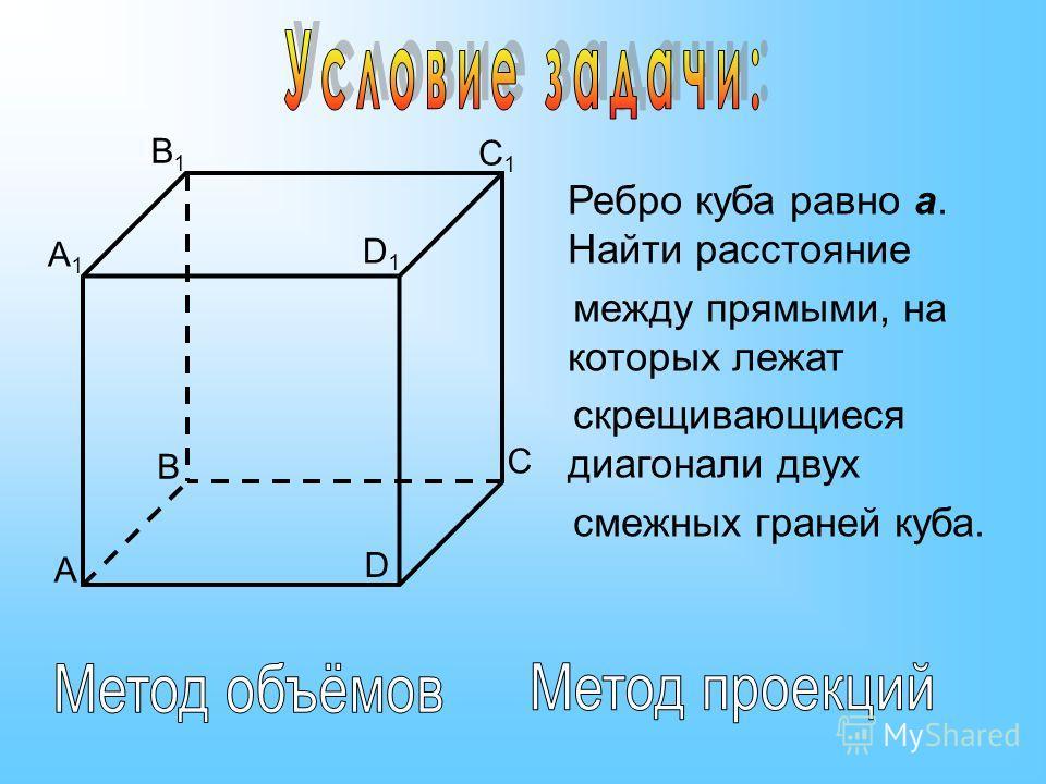 Ребро куба равно а. Найти расстояние между прямыми, на которых лежат скрещивающиеся диагонали двух смежных граней куба. A1A1 B1B1 C1C1 D1D1 A B C D