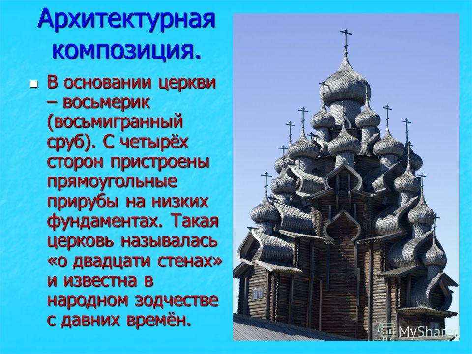 Архитектурная композиция. В основании церкви – восьмерик (восьмигранный сруб). С четырёх сторон пристроены прямоугольные прирубы на низких фундаментах. Такая церковь называлась «о двадцати стенах» и известна в народном зодчестве с давних времён.