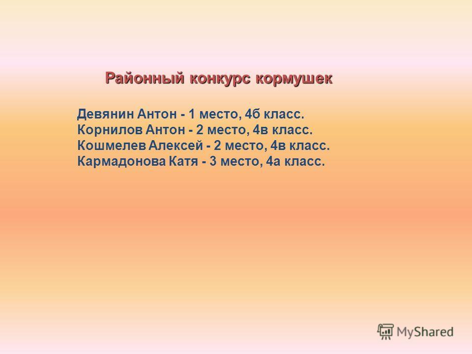 Районный конкурс кормушек Девянин Антон - 1 место, 4б класс. Корнилов Антон - 2 место, 4в класс. Кошмелев Алексей - 2 место, 4в класс. Кармадонова Катя - 3 место, 4а класс.