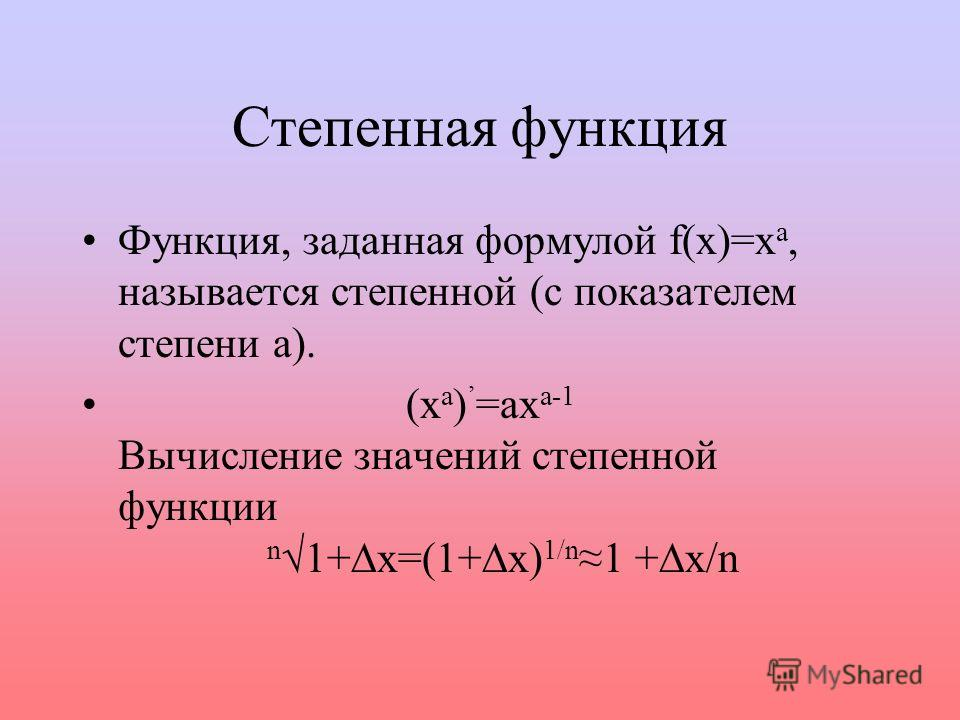 Степенная функция Функция, заданная формулой f(x)=x a, называется степенной (с показателем степени а). (х а ) =ах а-1 Вычисление значений степенной функции n1+x=(1+x) 1/n 1 +x/n