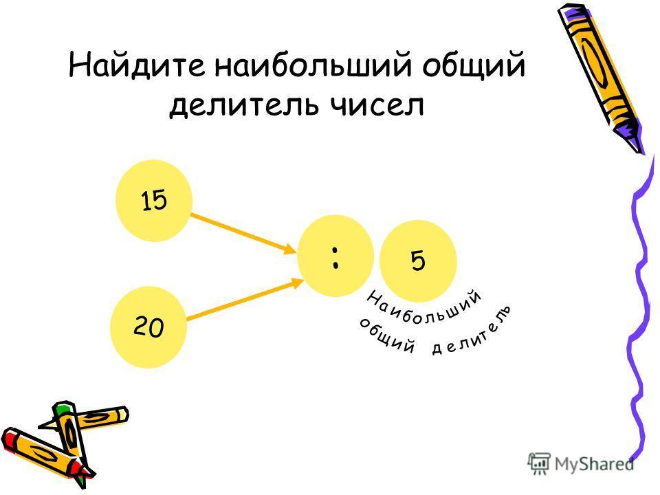 Найдите наибольший общий делитель чисел 15 20 : ? Н а и б о л ь ш и й о б щ и й д е л и т е л ь 5
