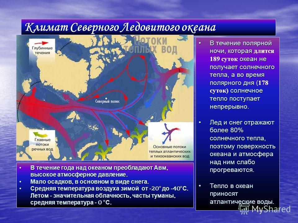 Климат Северного Ледовитого океана В течение полярной ночи, которая океан не получает солнечного тепла, а во время полярного дня ( солнечное тепло поступает непрерывно.В течение полярной ночи, которая длится 189 суток океан не получает солнечного теп