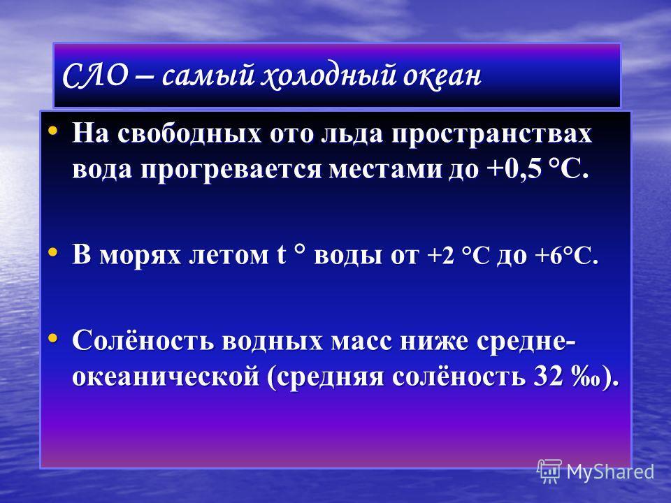 СЛО – самый холодный океан На свободных ото льда пространствах вода прогревается местами до +0,5 °С. На свободных ото льда пространствах вода прогревается местами до +0,5 °С. В морях летом t ° воды от +2 °С до +6°С. В морях летом t ° воды от +2 °С до