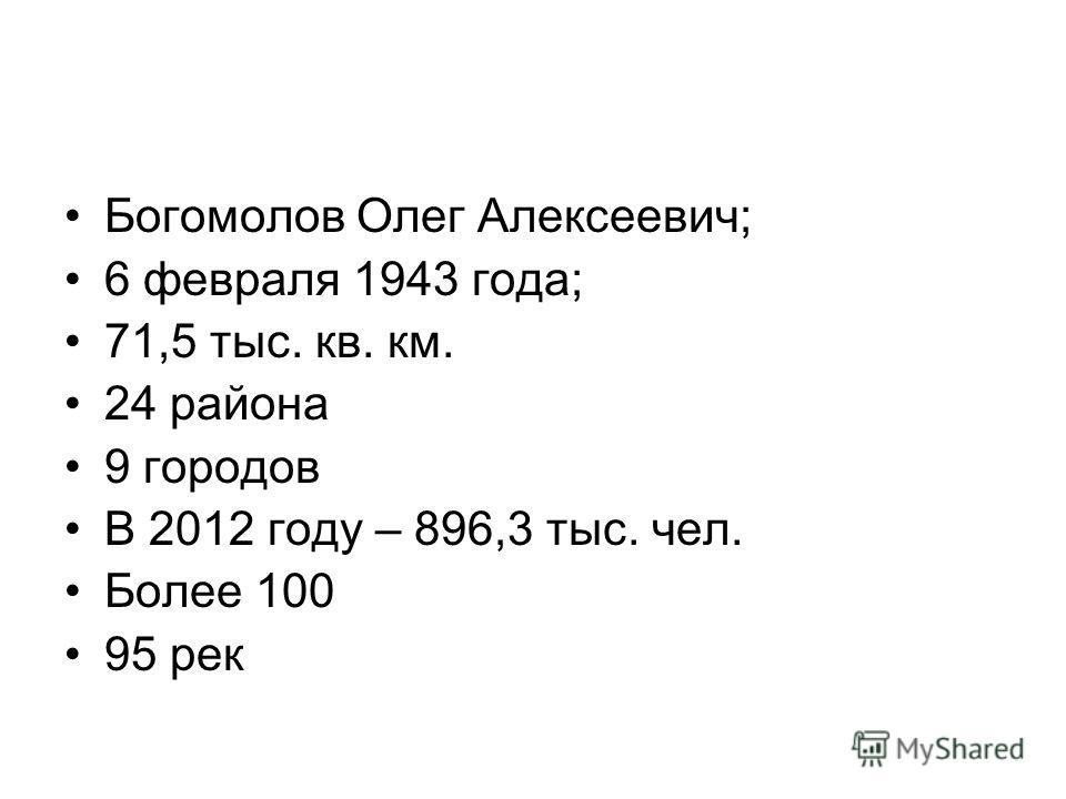 Богомолов Олег Алексеевич; 6 февраля 1943 года; 71,5 тыс. кв. км. 24 района 9 городов В 2012 году – 896,3 тыс. чел. Более 100 95 рек