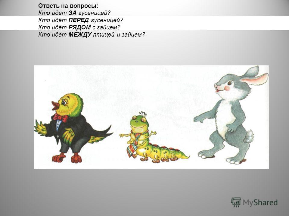 Ответь на вопросы: Кто идёт ЗА гусеницей? Кто идёт ПЕРЕД гусеницей? Кто идёт РЯДОМ с зайцем? Кто идёт МЕЖДУ птицей и зайцем?