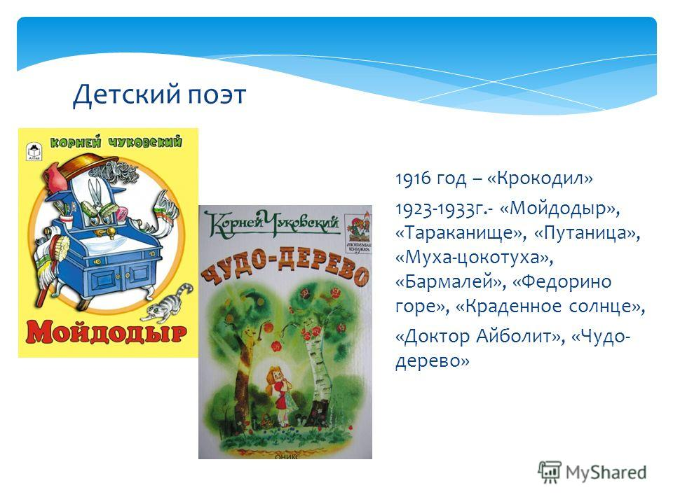 Детский поэт 1916 год – «Крокодил» 1923-1933г.- «Мойдодыр», «Тараканище», «Путаница», «Муха-цокотуха», «Бармалей», «Федорино горе», «Краденное солнце», «Доктор Айболит», «Чудо- дерево»