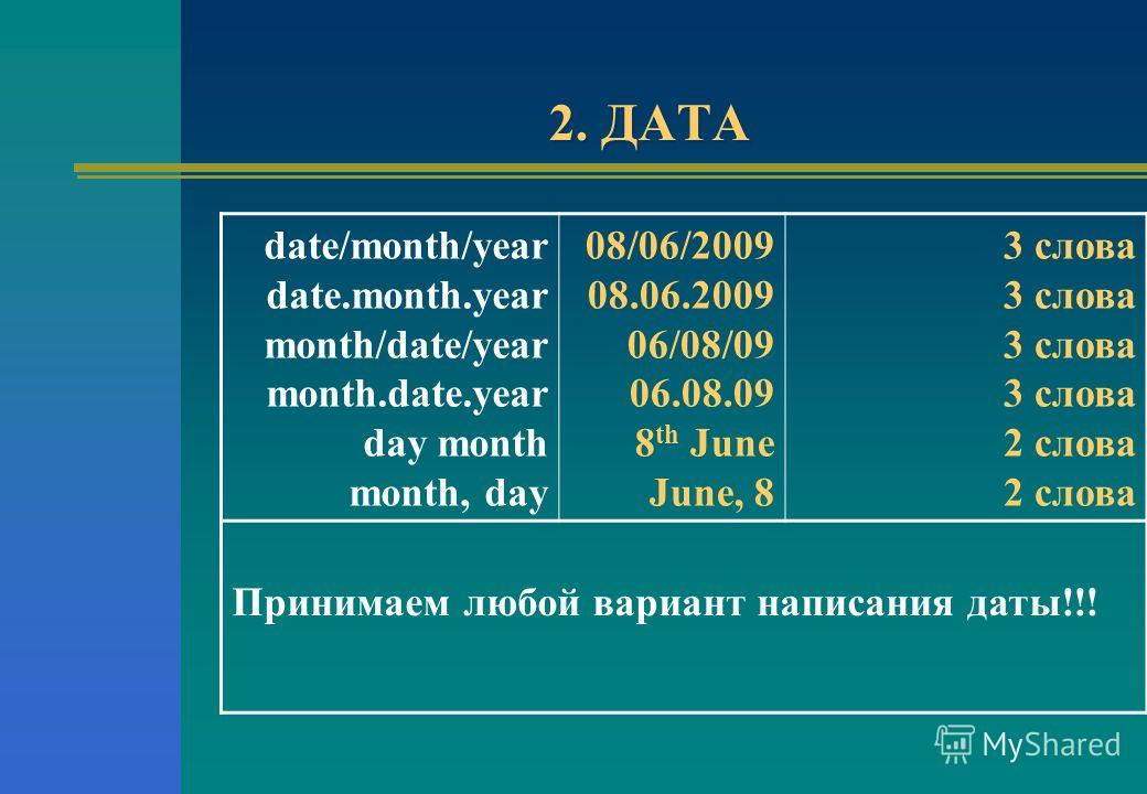 2. ДАТА date/month/year date.month.year month/date/year month.date.year day month month, day 08/06/2009 08.06.2009 06/08/09 06.08.09 8 th June June, 8 3 слова 2 слова Принимаем любой вариант написания даты!!!