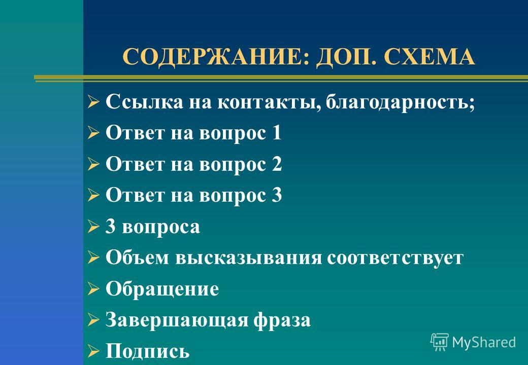 СОДЕРЖАНИЕ: ДОП. СХЕМА Ссылка на контакты, благодарность; Ответ на вопрос 1 Ответ на вопрос 2 Ответ на вопрос 3 3 вопроса Объем высказывания соответствует Обращение Завершающая фраза Подпись