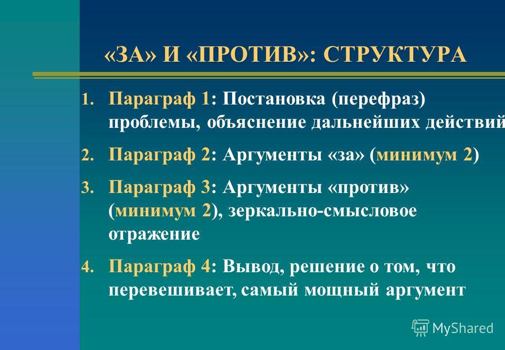 «ЗА» И «ПРОТИВ»: СТРУКТУРА 1. Параграф 1: Постановка (перефраз) проблемы, объяснение дальнейших действий 2. Параграф 2: Аргументы «за» (минимум 2) 3. Параграф 3: Аргументы «против» (минимум 2), зеркально-смысловое отражение 4. Параграф 4: Вывод, реше