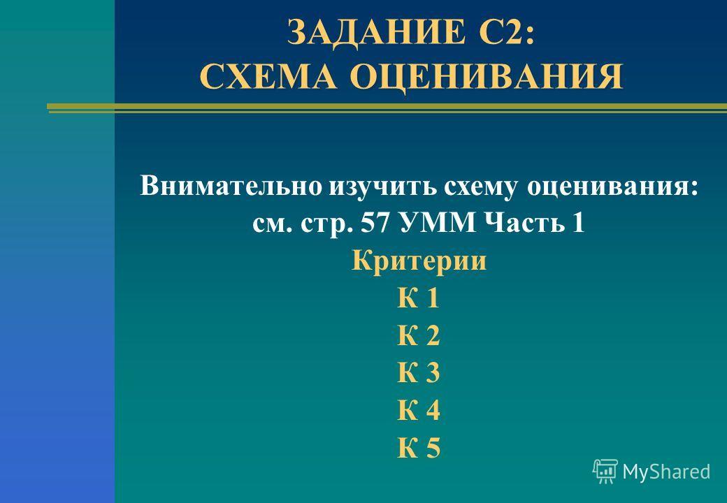 ЗАДАНИЕ С2: СХЕМА ОЦЕНИВАНИЯ Внимательно изучить схему оценивания: см. стр. 57 УММ Часть 1 Критерии К 1 К 2 К 3 К 4 К 5