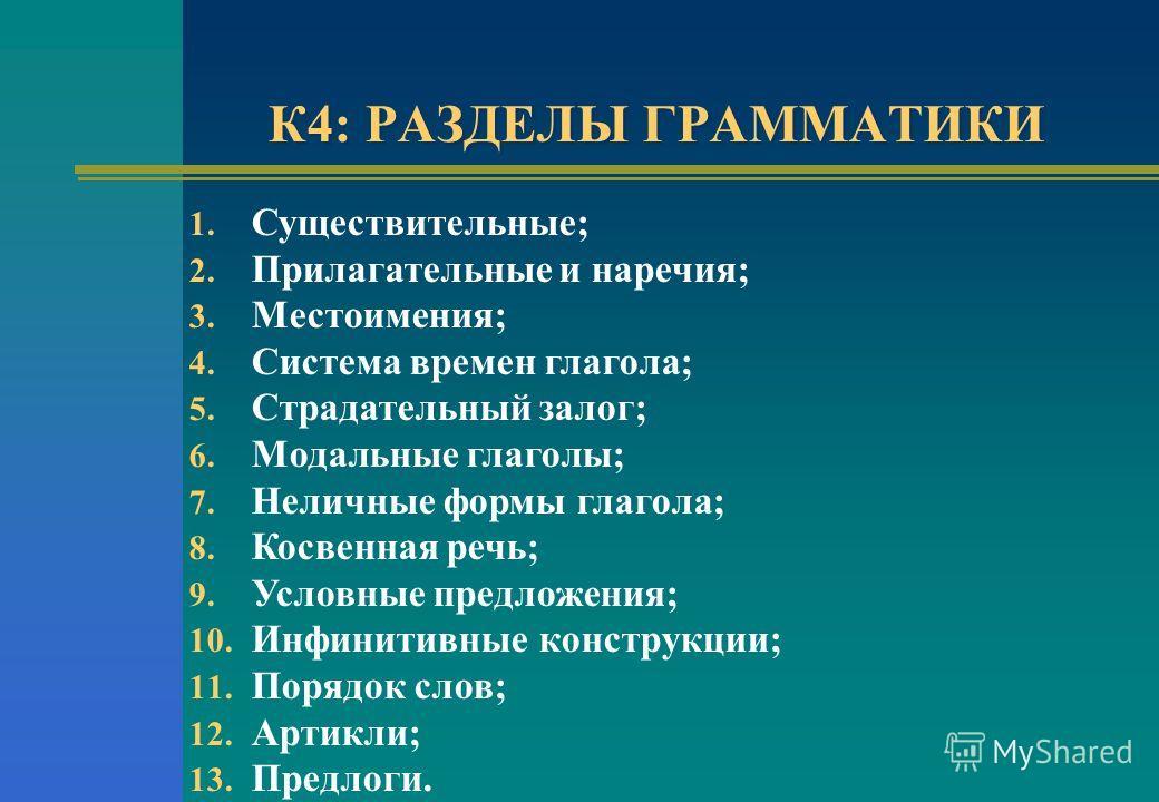 К4: РАЗДЕЛЫ ГРАММАТИКИ 1. Существительные; 2. Прилагательные и наречия; 3. Местоимения; 4. Система времен глагола; 5. Страдательный залог; 6. Модальные глаголы; 7. Неличные формы глагола; 8. Косвенная речь; 9. Условные предложения; 10. Инфинитивные к