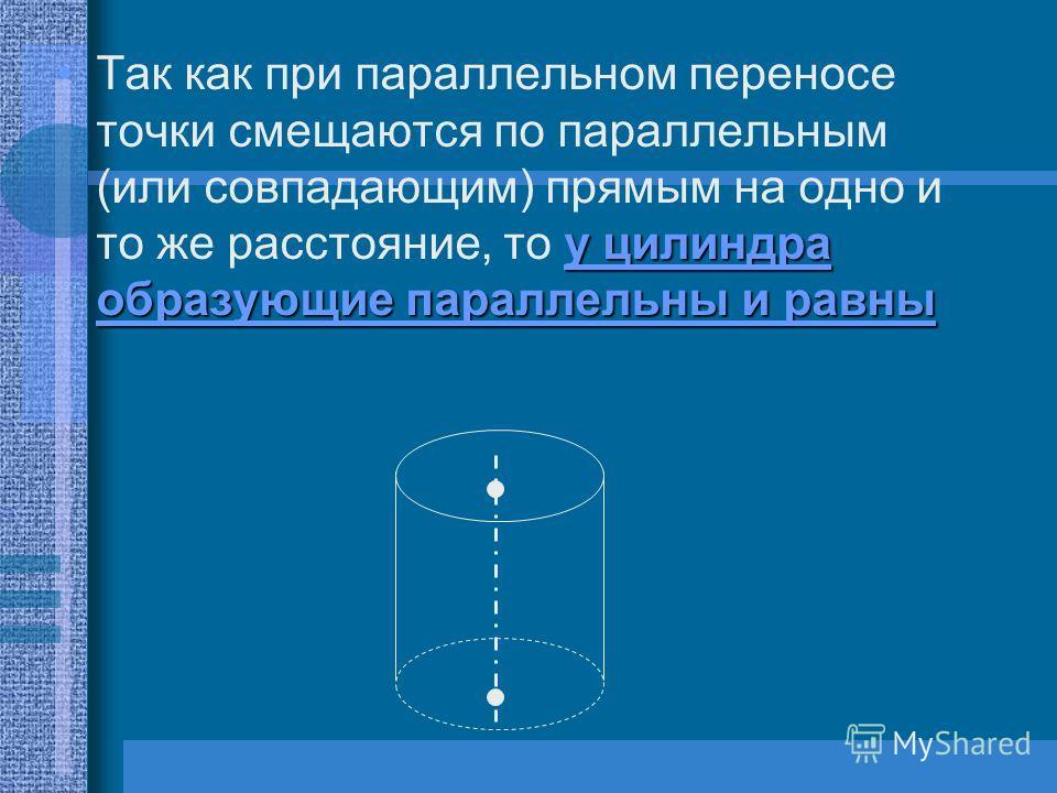 у цилиндра образующие параллельны и равныТак как при параллельном переносе точки смещаются по параллельным (или совпадающим) прямым на одно и то же расстояние, то у цилиндра образующие параллельны и равны