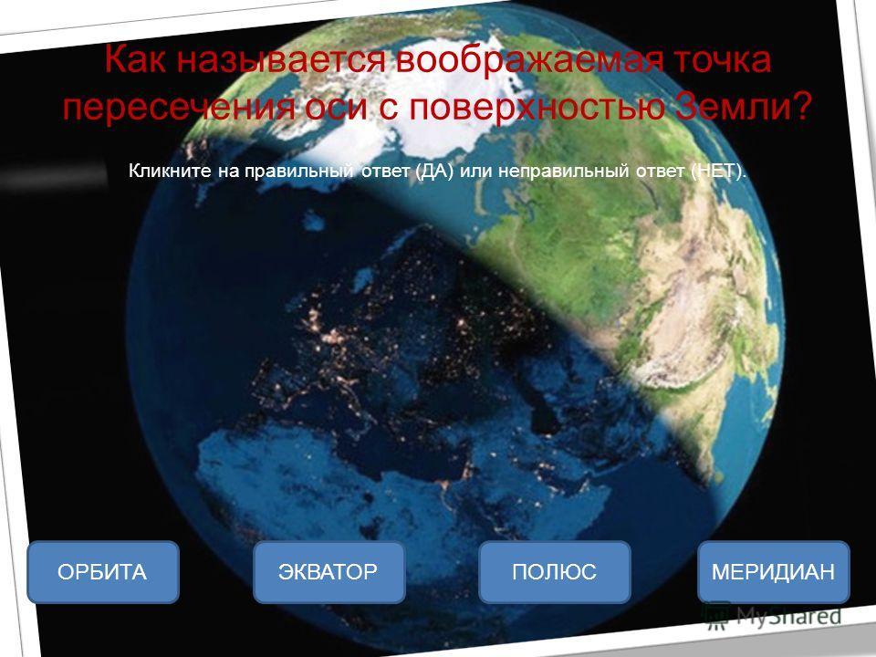 Как называется воображаемая точка пересечения оси с поверхностью Земли? Кликните на правильный ответ (ДА) или неправильный ответ (НЕТ). ПОЛЮСЭКВАТОРМЕРИДИАНОРБИТА
