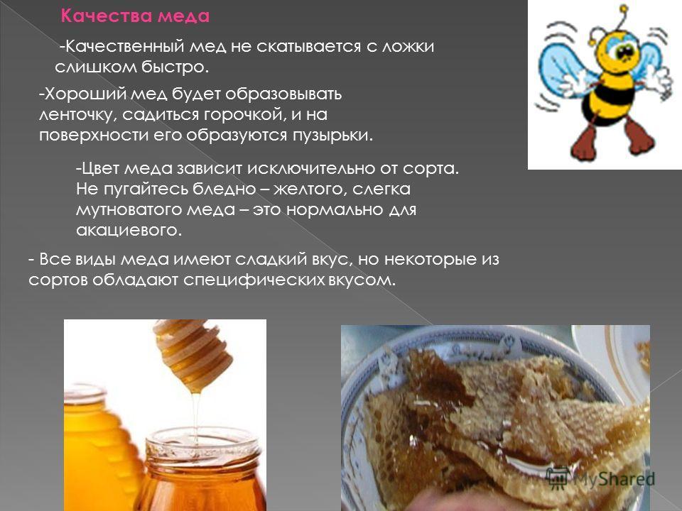 Качества меда -Качественный мед не скатывается с ложки слишком быстро. -Хороший мед будет образовывать ленточку, садиться горочкой, и на поверхности его образуются пузырьки. -Цвет меда зависит исключительно от сорта. Не пугайтесь бледно – желтого, сл