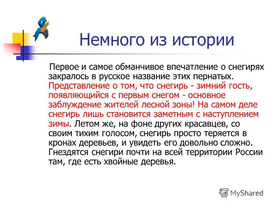 Немного из истории Первое и самое обманчивое впечатление о снегирях закралось в русское название этих пернатых. Представление о том, что снегирь - зимний гость, появляющийся с первым снегом - основное заблуждение жителей лесной зоны! На самом деле сн