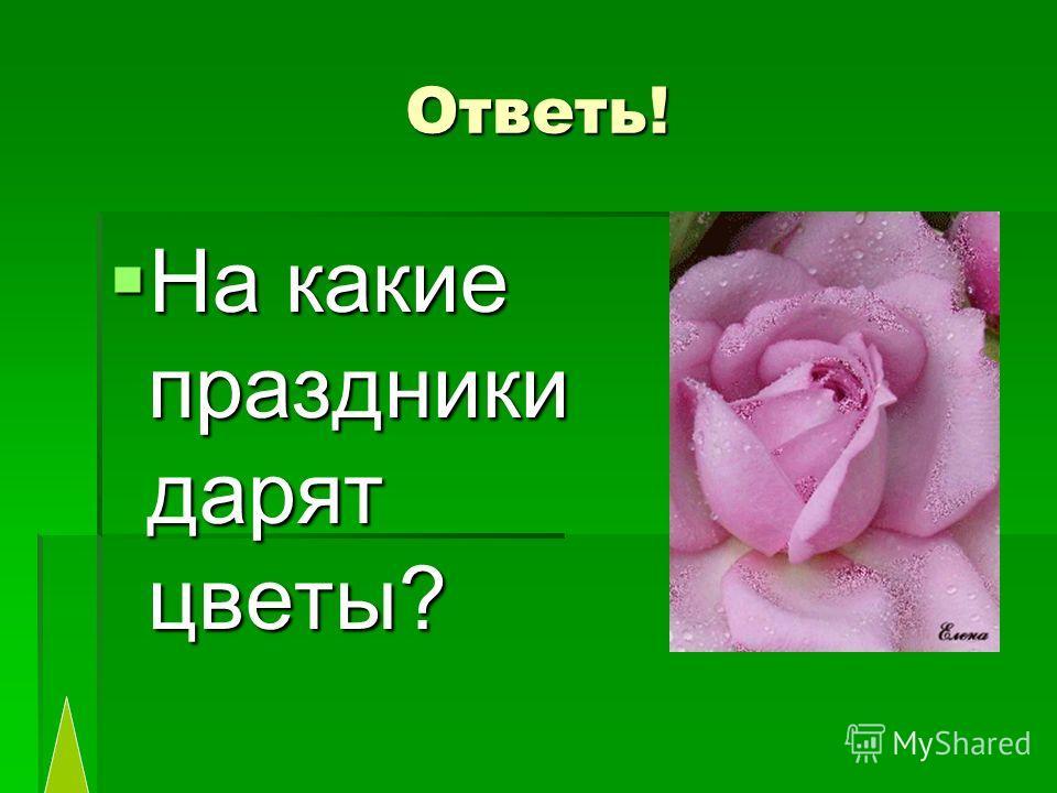 Ответь! На какие праздники дарят цветы? На какие праздники дарят цветы?
