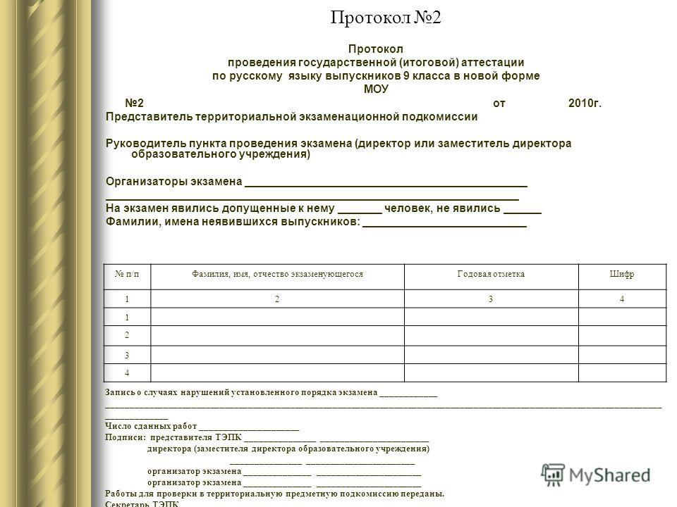 Протокол 2 Протокол проведения государственной (итоговой) аттестации по русскому языку выпускников 9 класса в новой форме МОУ 2 от 2010г. Представитель территориальной экзаменационной подкомиссии Руководитель пункта проведения экзамена (директор или