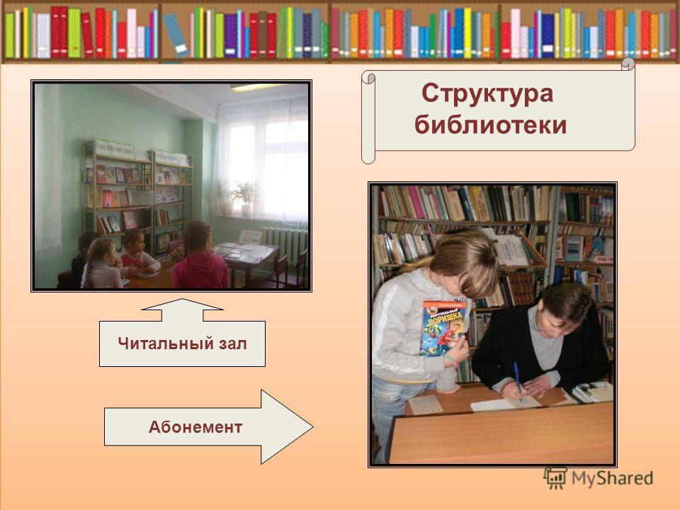Абонемент Структура библиотеки Читальный зал
