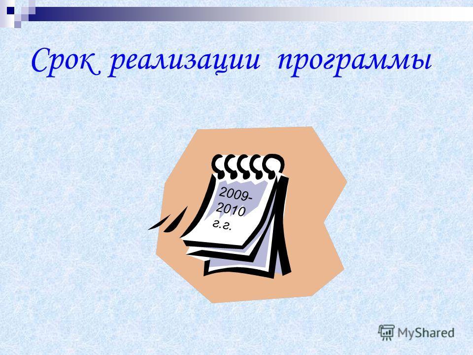 Срок реализации программы 2009- 2010 г.г.