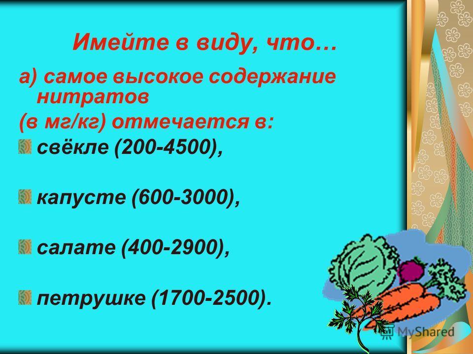 31 Имейте в виду, что… а) самое высокое содержание нитратов (в мг/кг) отмечается в: свёкле (200-4500), капусте (600-3000), салате (400-2900), петрушке (1700-2500).