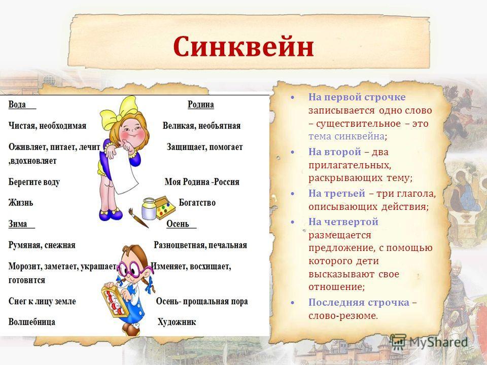 Синквейн На первой строчке записывается одно слово – существительное – это тема синквейна; На второй – два прилагательных, раскрывающих тему; На третьей – три глагола, описывающих действия; На четвертой размещается предложение, с помощью которого дет