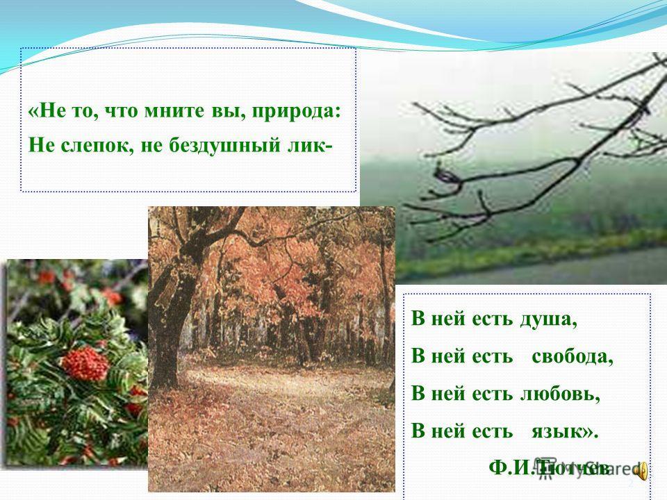 2 «Не то, что мните вы, природа: Не слепок, не бездушный лик- В ней есть душа, В ней есть свобода, В ней есть любовь, В ней есть язык». Ф.И.Тютчев