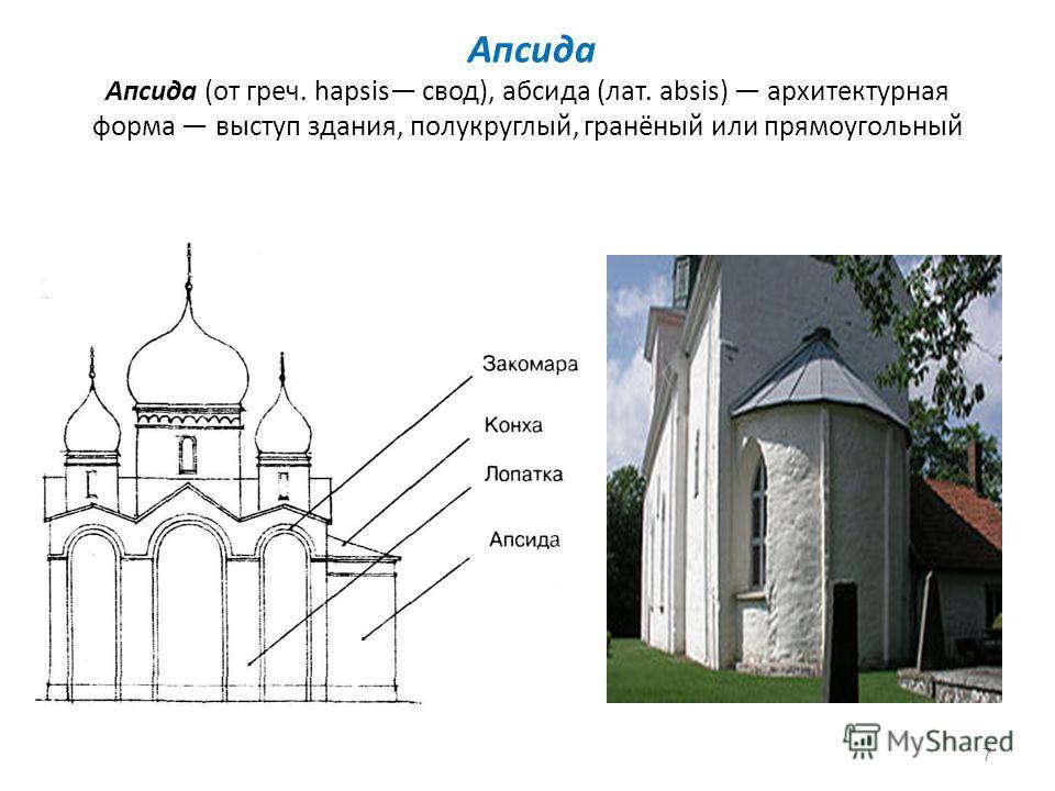 Апсида Апсида (от греч. hapsis свод), абсида (лат. absis) архитектурная форма выступ здания, полукруглый, гранёный или прямоугольный 7