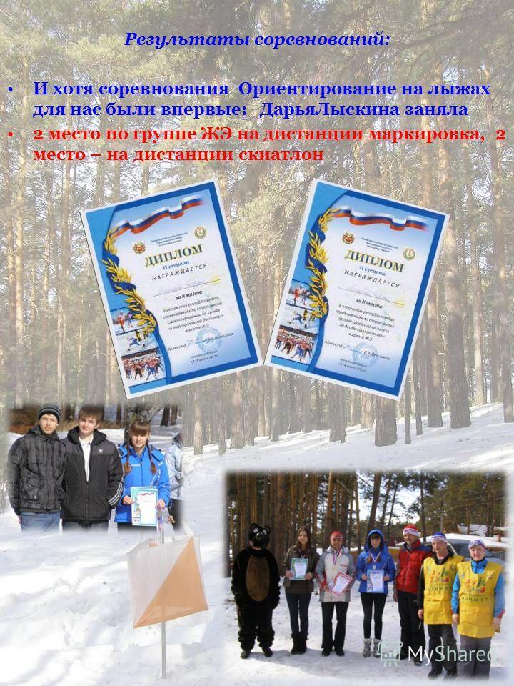Результаты соревнований: И хотя соревнования Ориентирование на лыжах для нас были впервые: ДарьяЛыскина заняла 2 место по группе ЖЭ на дистанции маркировка, 2 место – на дистанции скиатлон