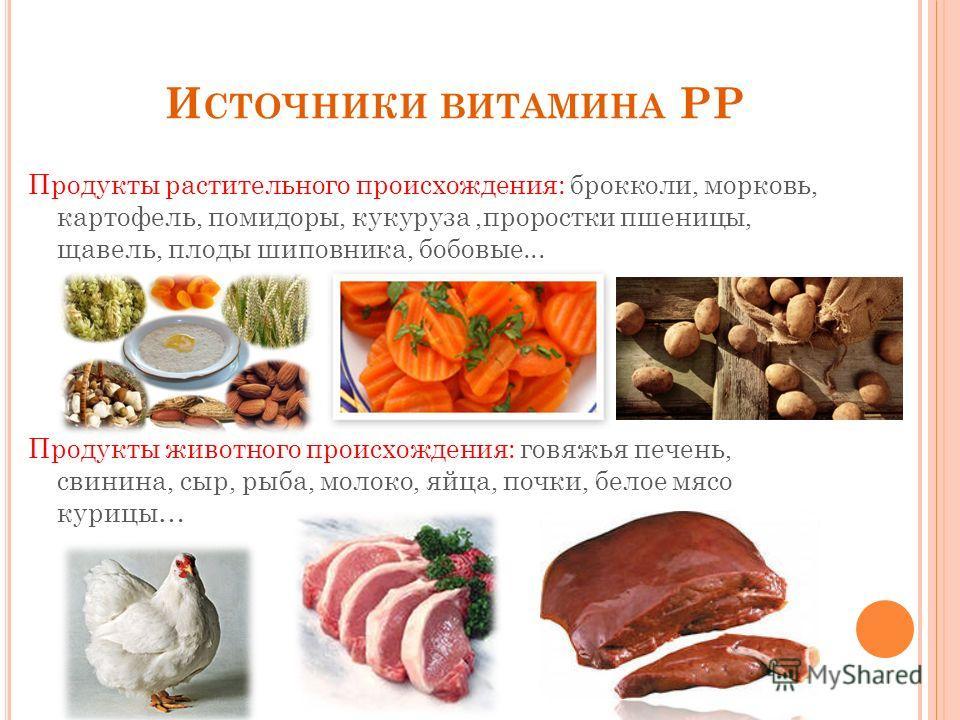 И СТОЧНИКИ ВИТАМИНА PP Продукты растительного происхождения: брокколи, морковь, картофель, помидоры, кукуруза,проростки пшеницы, щавель, плоды шиповника, бобовые... Продукты животного происхождения: говяжья печень, свинина, сыр, рыба, молоко, яйца, п