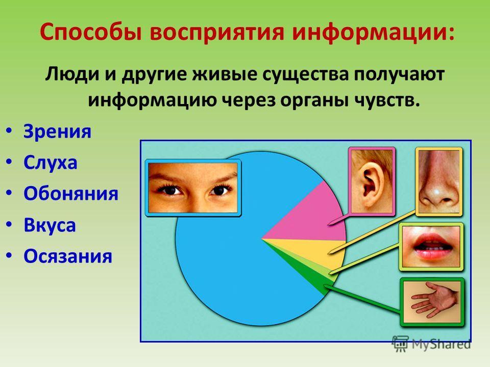 Способы восприятия информации: Люди и другие живые существа получают информацию через органы чувств. Зрения Слуха Обоняния Вкуса Осязания