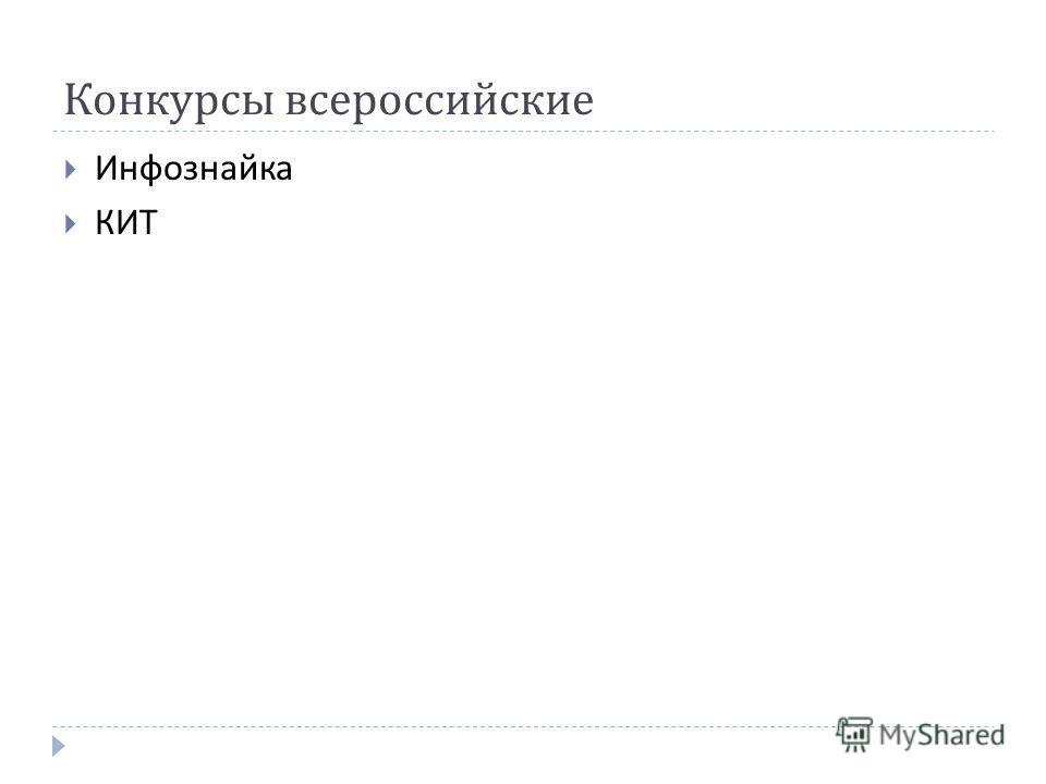 Конкурсы всероссийские Инфознайка КИТ
