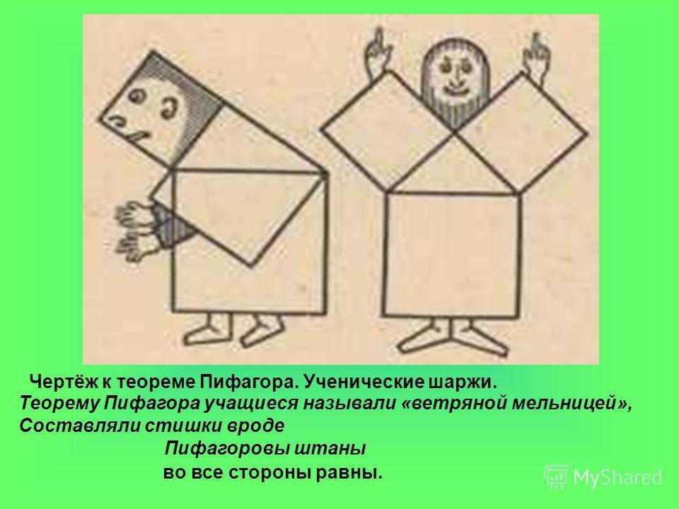 Чертёж к теореме Пифагора. Ученические шаржи. Теорему Пифагора учащиеся называли «ветряной мельницей», Составляли стишки вроде Пифагоровы штаны во все стороны равны.
