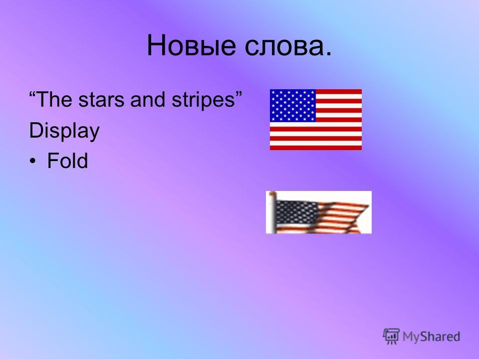 Новые слова. The stars and stripes Display Fold