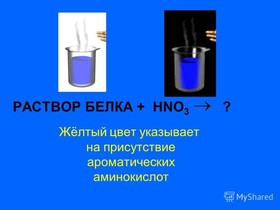 РАСТВОР БЕЛКА + HNO 3 ? Жёлтый цвет указывает на присутствие ароматических аминокислот