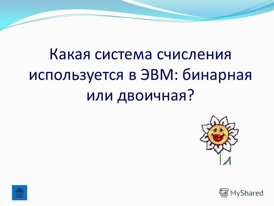 Какая система счисления используется в ЭВМ: бинарная или двоичная?