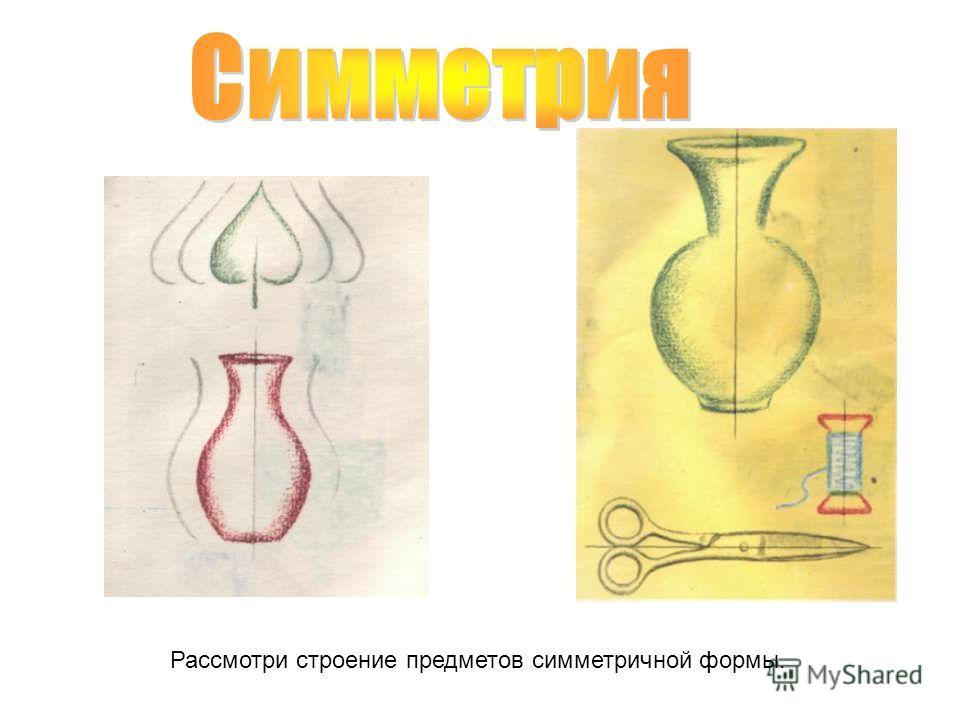 Рассмотри строение предметов симметричной формы.