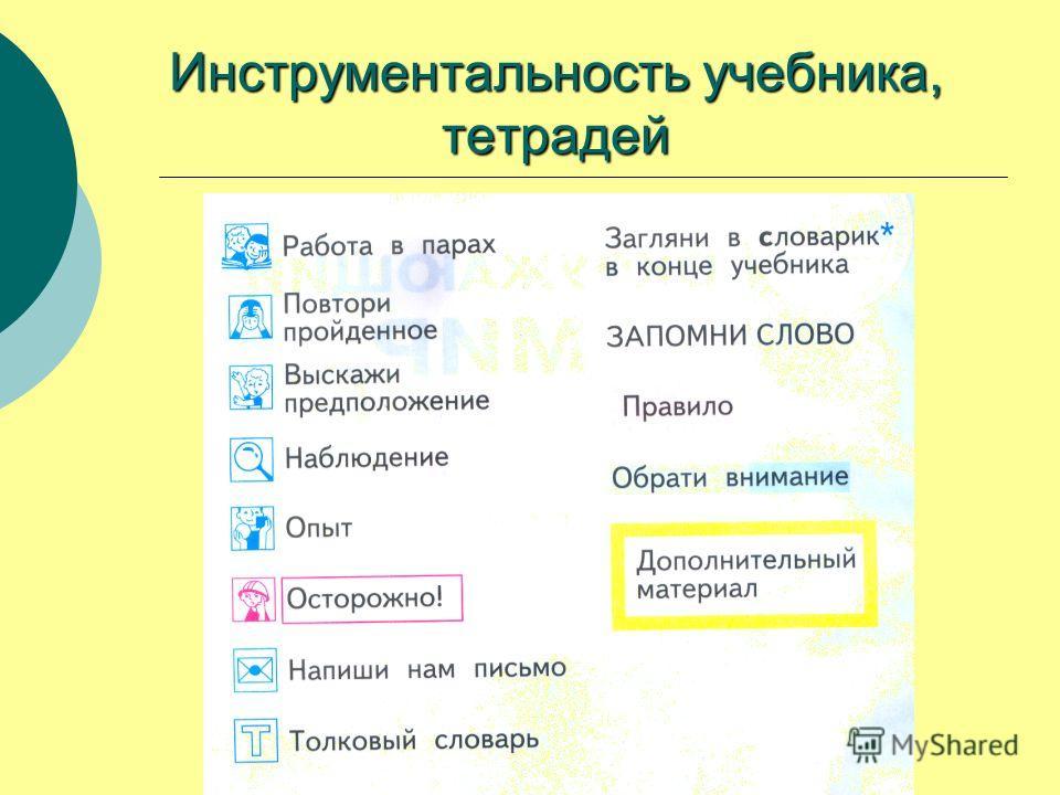 Инструментальность учебника, тетрадей