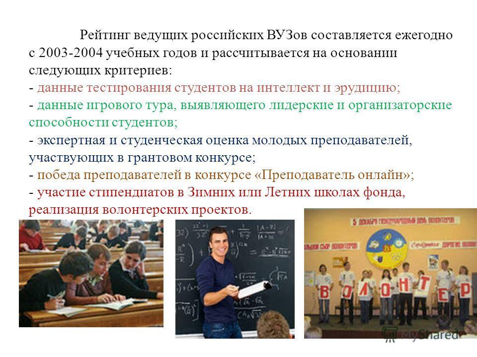 Рейтинг ведущих российских ВУЗов составляется ежегодно с 2003-2004 учебных годов и рассчитывается на основании следующих критериев: - данные тестирования студентов на интеллект и эрудицию; - данные игрового тура, выявляющего лидерские и организаторск