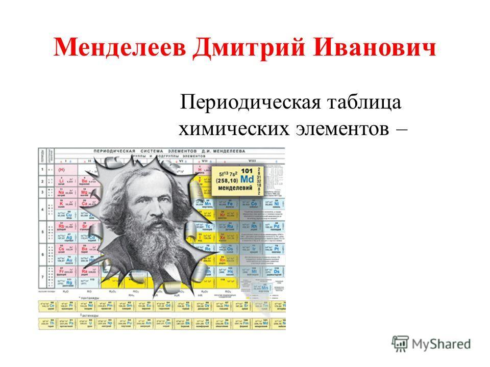 Менделеев Дмитрий Иванович Периодическая таблица химических элементов –